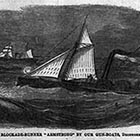 A Confederate blockade runner races to get away from Union warships.