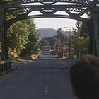 This instantly recognizable image of downtown Brownsville as seen from the end of the Calapooia River bridge appears early in Stand By Me. (Image: Columbia Pictures)