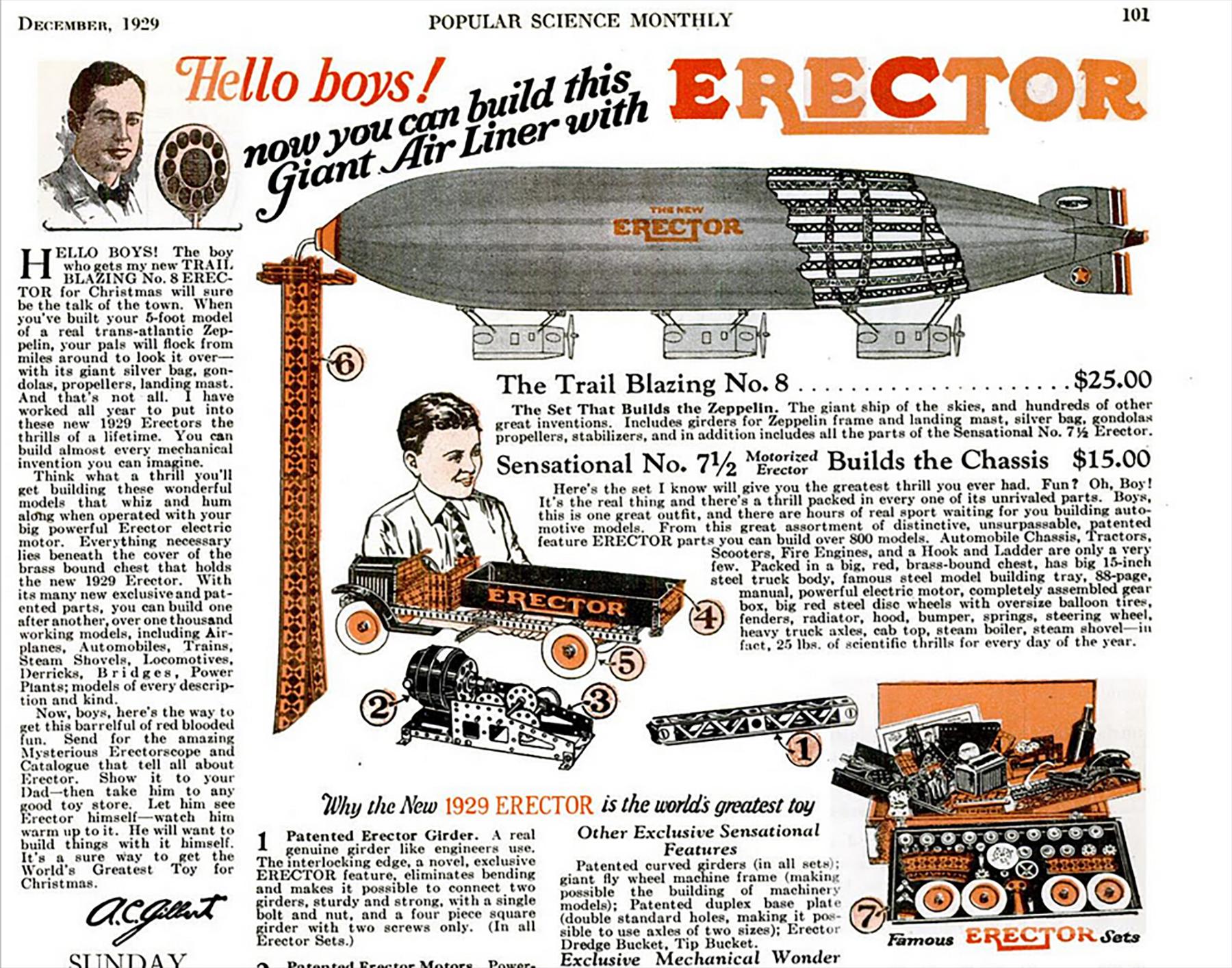 even as a boy erector set s inventor seemed larger than