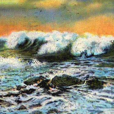 A postcard image of heavy surf after a storm, on an unknown but rocky shore.