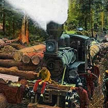Loggers in camp pose with their locomotive engine, next to the log landing, sometime in the 1910s.
