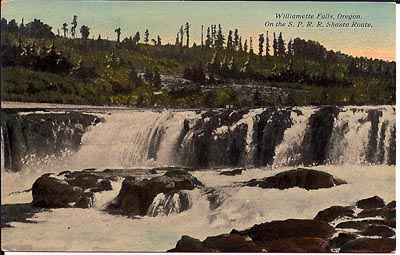 This image of Willamette Falls before the build-up of paper mills on either side comes from a postcard dating from circa 1920.