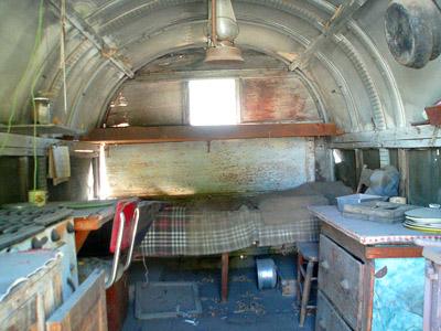Interior of sheepherder's wagon