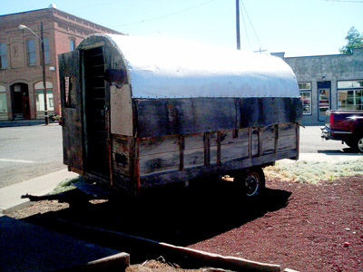 A classic sheepherder's wagon on display in the town of Fossil, Oregon