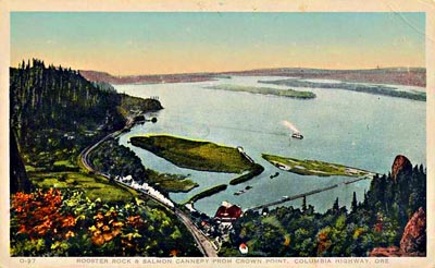 The old salmon cannery and fish wheel, as seen from Crown Point Vista House in the 1920s.