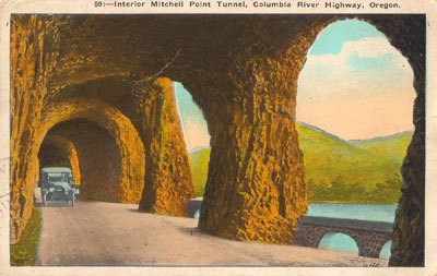 Postcard image of Columbia River Highway near Eagle Creek.