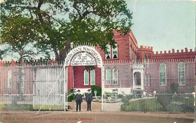A 1920s picture of the Oregon State Penitentiary, from a hand-tinted postcard.