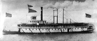 The steamboat 'Telephone' under way on the Columbia River in the 1800s, before the fire destroyed everything down to the waterline.