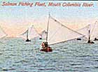 Boats of the Astoria fishing fleet, with the help of both wind and incoming tide, race away from the dangers of the Columbia River Bar in this postcard image from around the turn of the century.